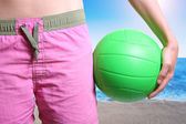 Beach volleyball player with ball — Stock Photo