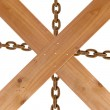 Crossed wooden planks and rusty chain — Foto Stock