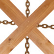 Crossed wooden planks and rusty chain — Lizenzfreies Foto