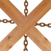 Crossed wooden planks and rusty chain — Stock Photo