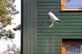 Security cameras on the building walls — 图库照片