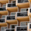 Close up view of building with balconies — Stock Photo