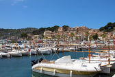 Puerto de Soller Port of Mallorca with boats in balearic island — Stock Photo