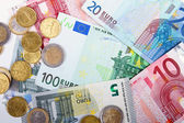 Euro money coins and banknotes — Stock Photo