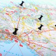 Pushpins shows destination points on a map — Stock Photo