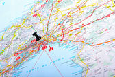Destination point on a map - Palma de Mallorca — Stock Photo