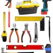 Set with construction work tools isolated on white — Stok fotoğraf