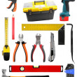 Set with construction work tools isolated on white — Stock Photo #32413023