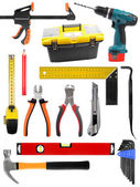 Set with construction work tools isolated on white — Stock Photo