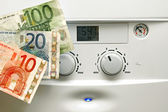House heating boiler and euro money — Stock Photo