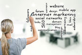 Woman writing internet marketing concept keywords — Stock Photo