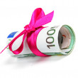 Euro money roll gift with pink ribbon — Zdjęcie stockowe