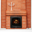 Stock Photo: Brick fireplace