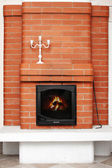 Brick fireplace — Stock Photo