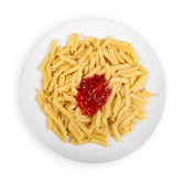 Pasta with ketchup isolated on white — Stock Photo