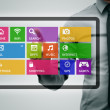 virtual digital tablet with colorful app icons — Stock Photo
