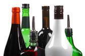 Variety of alcoholic beverages isolated on white — Stock Photo