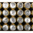 Stock Photo: Box of beer cans isolated on white