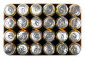 Box of beer cans isolated on white — Stock Photo