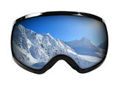 Ski goggles with reflection of mountains isolated on white — Stock Photo
