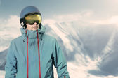 Snowboarder on the top of the mountain — Stock Photo