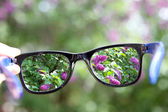 Eyeglasses in the hand over blurred background — Stock Photo