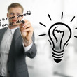 Man sketching lightbulb, idea concept — Foto de Stock   #48123663