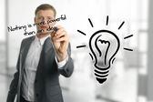 Man sketching lightbulb, idea concept — Stock Photo