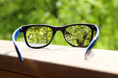 Eyeglasses in the hand over blurred tree background — Stock Photo