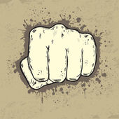 Beautifull illustration of fist in grunge style — Stock Vector