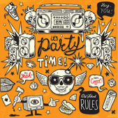 Old School Style Party — Vector de stock