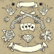 Set of Old School Tattoo Elements — Stock Vector