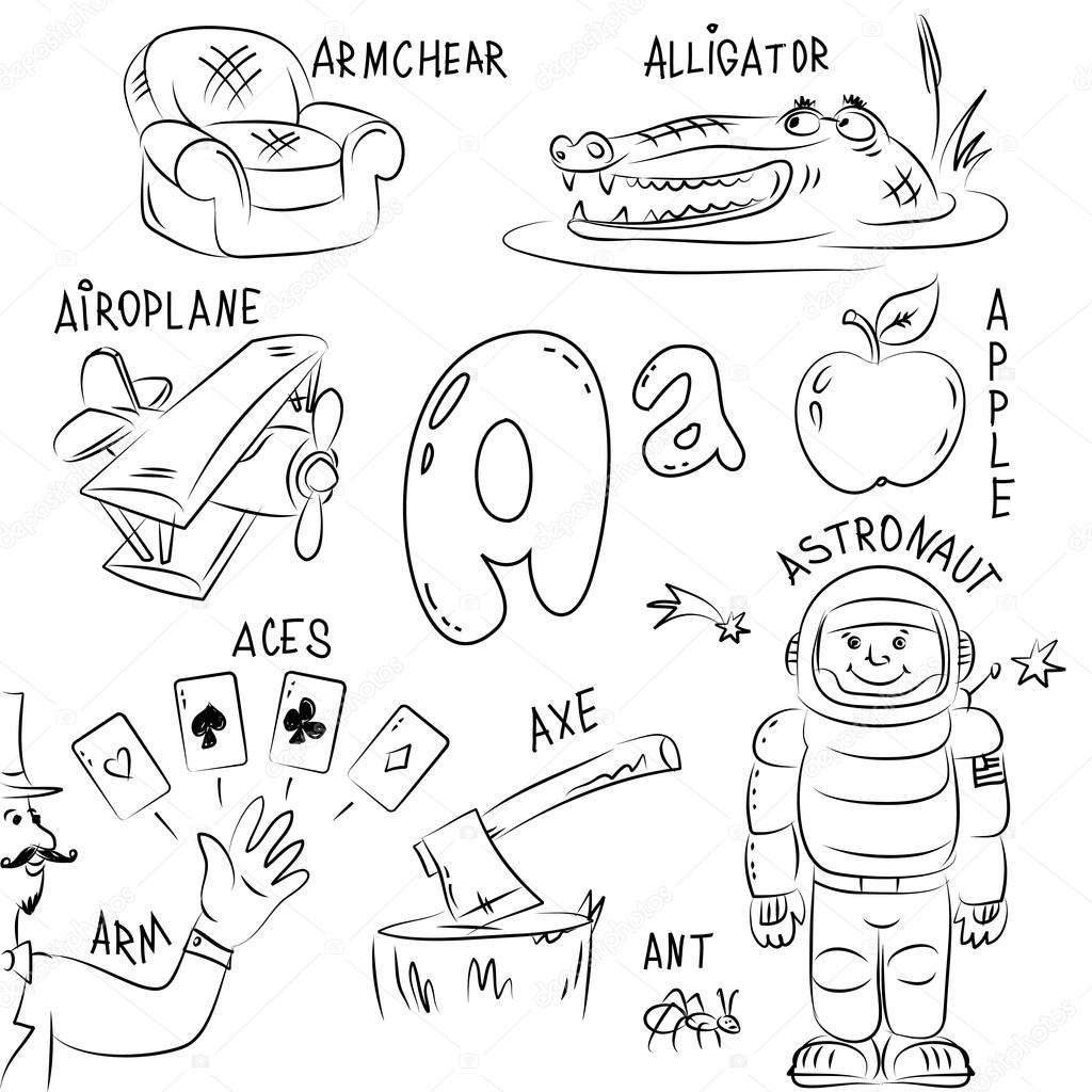 Japanese Alphabet Coloring Pages : Set of pictures on alphabet theme — stock vector igorij