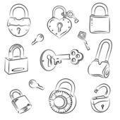 Set of Locks and Keys — Stock Vector