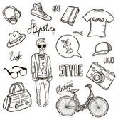 Set of hipster's style elements — Stock Vector