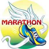 Beautifull illustration of the emblem of the marathon — Stock Vector