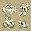 Stock Vector: Set of Old School Tattoo Elements
