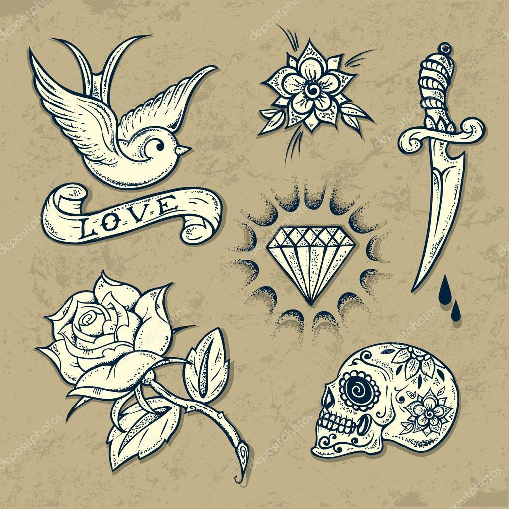 Tattoo Stock Photos: Set Of Old School Tattoo Elements