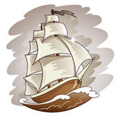Sailing boat floating on water surface. Vector color illustration. — Stock Vector