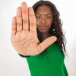 The young colored girl stretches out his hands — Stock Photo