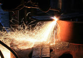 Sparks from are sharp metal — Stock Photo