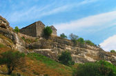 Old stone house on mountain — Foto de Stock