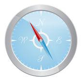 Design of silver compass — Stock Vector