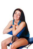 Happy Girl sitting on body-builder — Stock Photo