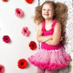 Portrait little lovely girl in a pink dress — Stock Photo