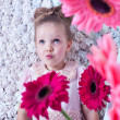 Fantastic image portrait little lovely girl in a pink dress — Stock Photo