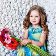Portrait little lovely girl in a pink dress — Stock Photo
