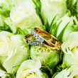 Beautiful background with wedding rings — Stok fotoğraf