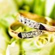 Beautiful background with wedding rings — Стоковая фотография