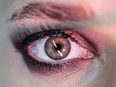 Macro pupil color red eye — Stock Photo